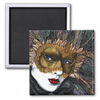 Black and Gold Carnival Mask  by PSOVART 2 Inch Square Magnet