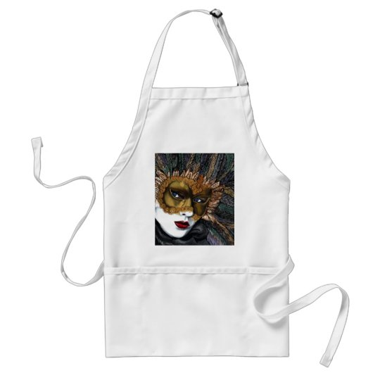 Black and Gold Carnival Mask  by PSOVART Adult Apron