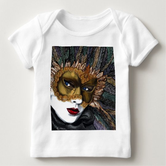 Black and Gold Carnival Mask  by PSOVART Baby T-Shirt