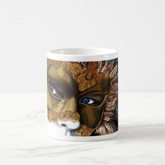 Black and Gold Carnival Mask  by PSOVART Magic Mug