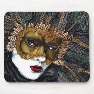 Black and Gold Carnival Mask  by PSOVART Mouse Pad