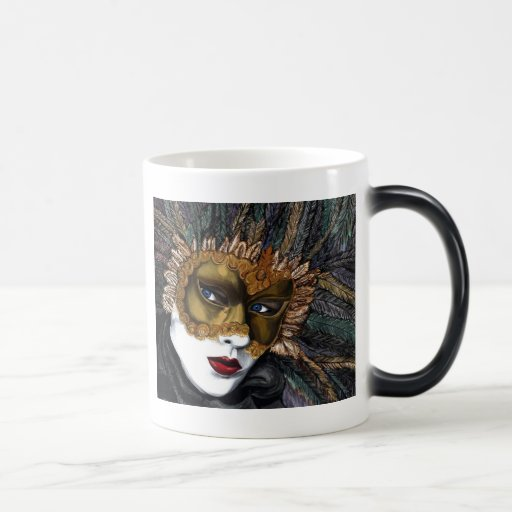 Black and Gold Carnival Mask  by PSOVART Coffee Mugs