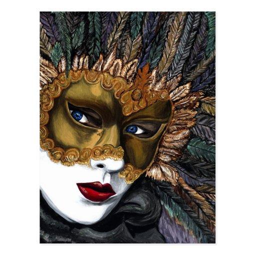 Black and Gold Carnival Mask  by PSOVART Postcard