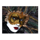 Black and Gold Carnival Mask  by PSOVART Post Cards
