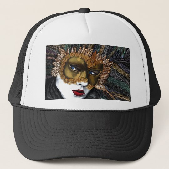 Black and Gold Carnival Mask  by PSOVART Trucker Hat