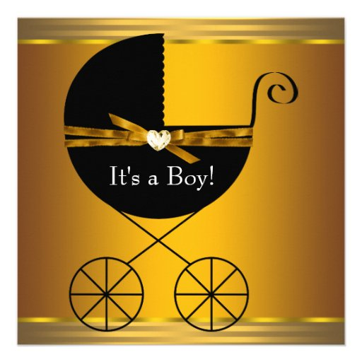 Black and Gold Carriage Boys Baby Shower Personalized Invitation
