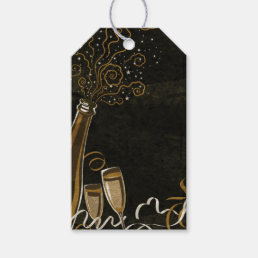 Black and Gold Champagne Glass Bottle Swirls Tags