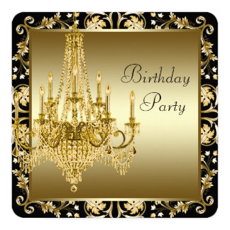 Black and Gold Chandelier Birthday Party Card