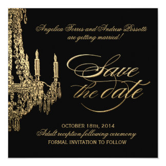Black and Gold Chandelier Save the date Card
