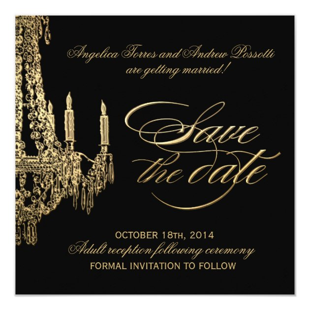 Black And Gold Chandelier Save The Date Card Zazzle