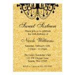 Black and Gold Chandelier Sweet 16 Birthday Custom Invites