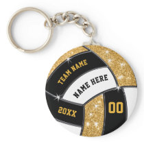 Black and Gold Cheap Volleyball Gifts 4 Text Boxes Keychain