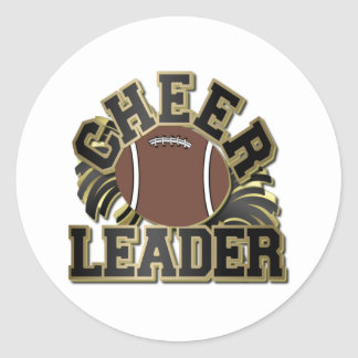 Black and Gold Cheer Leader with Football and Poms Round Sticker
