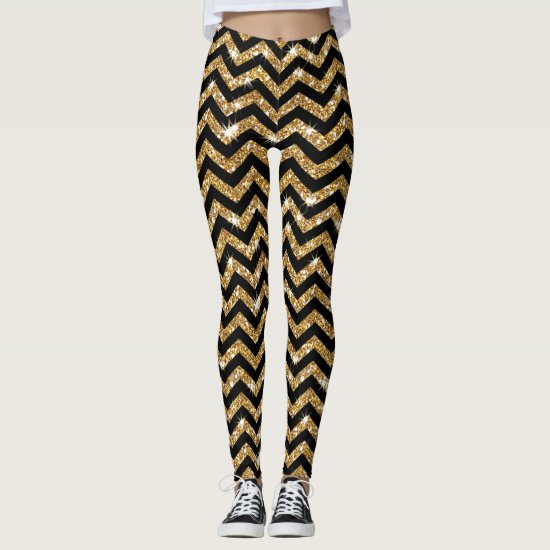Black and Gold Chevron Design Leggings