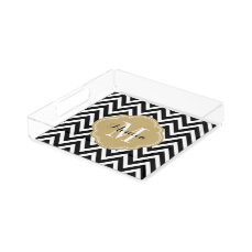 Black and Gold Chevron Monogram Acrylic Tray