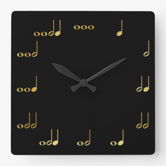 Black and Gold Chevron Musical Notes Square Wall Clock