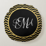 Black and Gold Chevron Pattern Triple Monogrammed Round Pillow