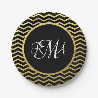 Black and Gold Chevron Pattern Triple Monogrammed 7 Inch Paper Plate