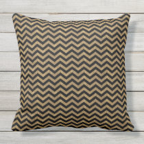 Black and Gold Chevron Throw Pillow