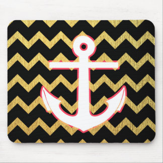 Black and Gold Chevron With White Anchor Mouse Pad
