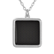 Black and Gold Chicken Wire Hexagon Pattern Design Silver Plated Necklace
