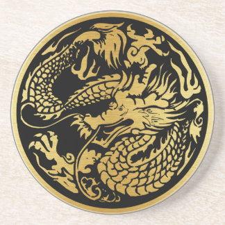 Black and Gold Chinese Dragon Coaster