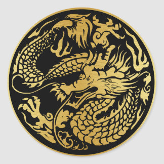 Black and gold Chinese Dragon Sticker