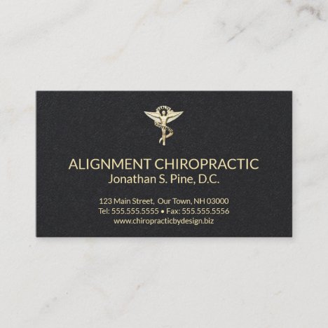 Black and Gold Chiropractic Emblem Chiropractor Business Card