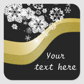 Black and Gold Christmas Theme Label