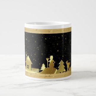 Black And Gold Christmas Village Large Coffee Mug