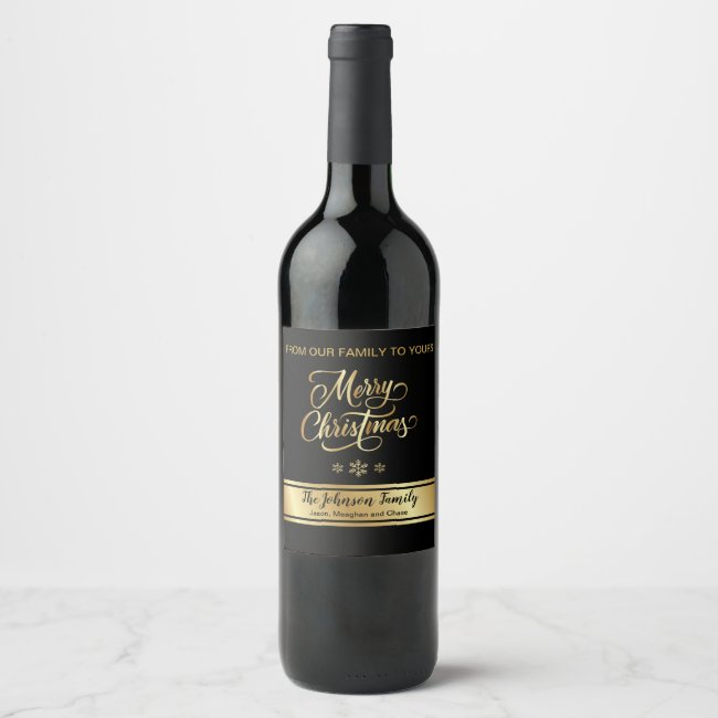 Black and Gold Christmas Wine Label