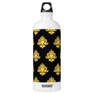 Black and Gold Classy Pattern SIGG Traveler 1.0L Water Bottle