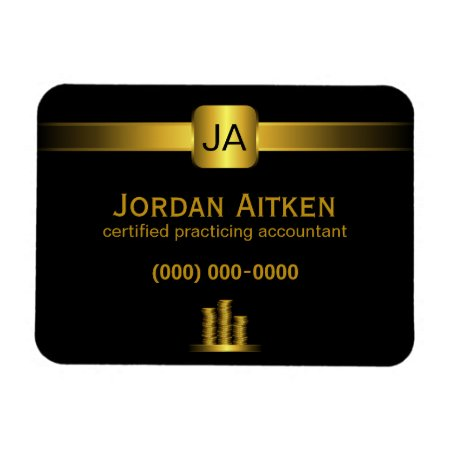 Black and Gold Coins Promotional Accountant Small Rectangular Flexible Magnet