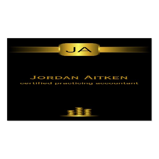 Black and Gold Coins CPA Accountant Business Cards