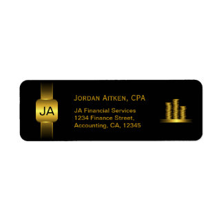 Black and Gold Coins CPA Accountant Classy Address Label