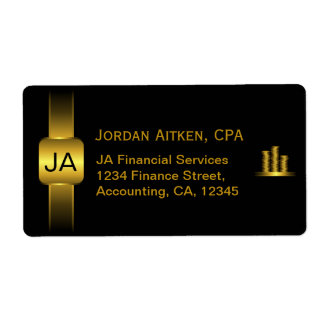 Black and Gold Coins CPA Accountant Large Labels
