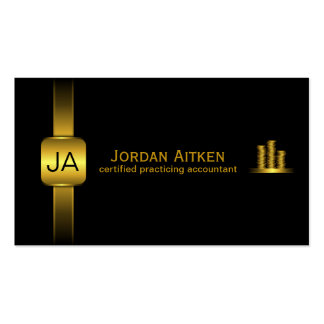 Black and Gold Coins Horizontal CPA Accountant Business Card