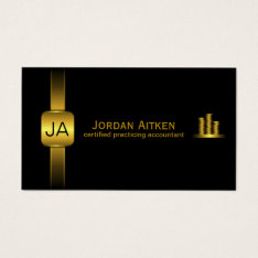 Black and Gold Coins Horizontal CPA Accountant Business Card at Zazzle