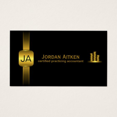 Stack of Gold Coins Black and Gold Professional Certified Public Accountant Business Cards