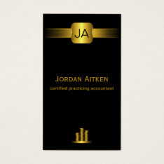 Black And Gold Coins Vertical Cpa Accountant Business Card at Zazzle