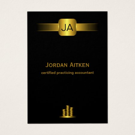 Vertical Large Black and Gold Coins Accountant Business Cards Template