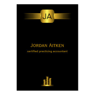 Black and Gold Coins Vertical Large CPA Accountant Large Business Cards (Pack Of 100)