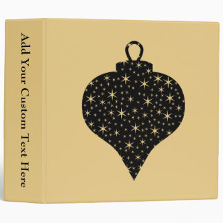 Black and Gold Color Christmas Bauble Design. Binders