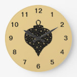 Black and Gold Color Christmas Bauble Design. Round Wall Clocks