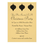 Black and Gold Color Christmas Bauble Design. Custom Invite
