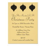 """Black and Gold Color Christmas Bauble Design. 5"""" X 7"""" Invitation Card"""