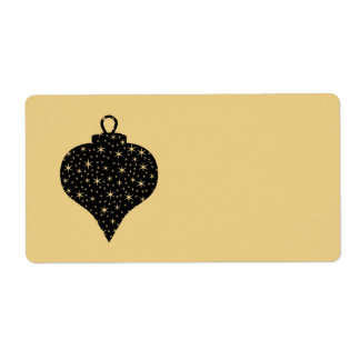 Black and Gold Color Christmas Bauble Design. Label