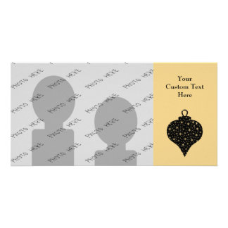 Black and Gold Color Christmas Bauble Design. Customized Photo Card