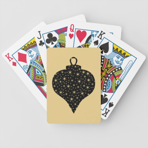 Black and Gold Color Christmas Bauble Design. Bicycle Poker Cards