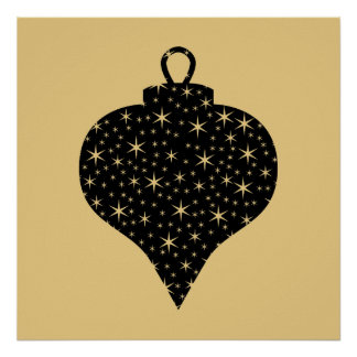Black and Gold Color Christmas Bauble Design. Poster